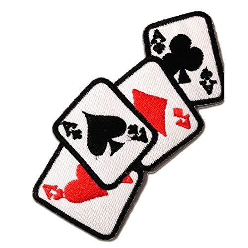 Toppe termoadesive - assoe Poker carte Biker - bianco - 11x5cm - Patch Toppa ricamate Applicazioni Ricamata da cucire adesive