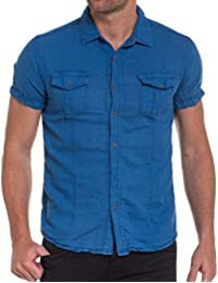 BLZ jeans - Chemisette bleu en lin pour homme