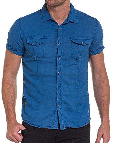 BLZ jeans - Chemisette bleu en lin pour homme Bleu