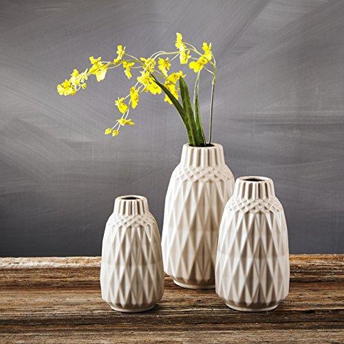Purelifestyle, GYP032, 3-er Set Vasen Blumenvase aus Keramik Deko Tischdeko Raumdekoration Hochzeitsdeko Höhe 21,5&18&15,5 cm Weihnachtsgeschenk Valentinstag Geschenk Geburtstagsgeschenk Hochzeitsgeschenk