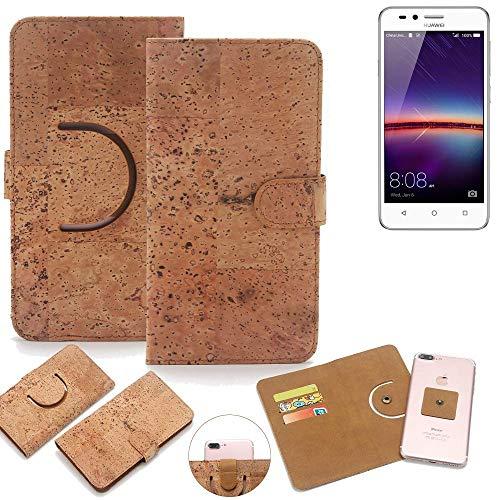 K-S-Trade Schutz Hülle für Huawei Y3 II Dual-SIM Handyhülle Kork Handy Tasche Korkhülle Schutzhülle Handytasche Wallet Case Walletcase Flip Cover Smartphone