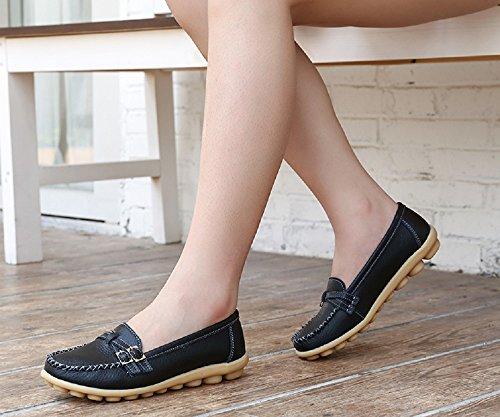NEOKER Mocassini Donna in Pelle Loafers Moda Comode Slip On Scarpe da Guida con Comfort Zeppa Estivi Nero Multicolors 34-44 Nero