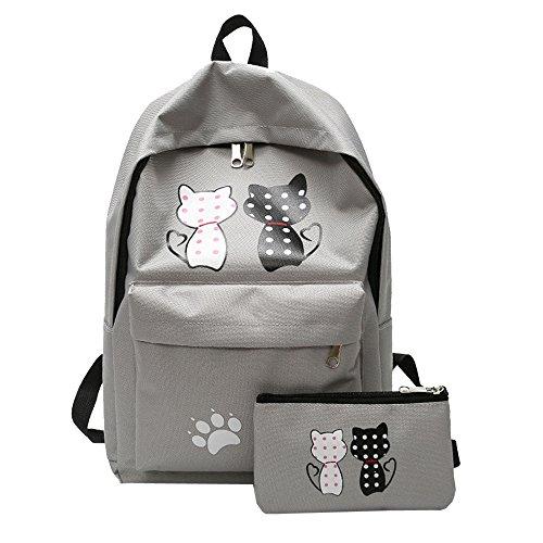 Ode_Joy 2Pcs zaini scuola tela studente modello femminile + borsa a tracolla + sacchetto della penna-Borsa da viaggio di grande capacità-Zaino per studenti-Borsa da viaggio all'aperto