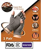 #10: Sira Copper Compression Hand Gloves, Arthritis Gloves, Open Finger Gloves, Rheumatoid, Hand Sleeve, Sports Recovery Sleeve, Hand Pain Relief, Compression Gloves, Copper Gloves, Muscles & Joint Pain Sleeve, Sports Glove for UNISEX. 1 Pair (2 Sleeves)