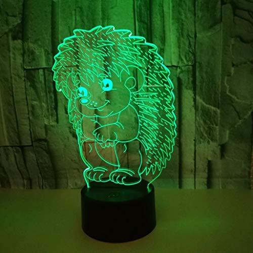 DYY Erizo 3D Pequeña luz Nocturna pequeña Socket USB Colorido LED Panel de acrílico Remoto/táctil Visión estéreo 3D Elegante Creativo Niño Lámpara de Mesa pequeña (Tamaño : Telecontrol Touch)