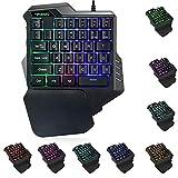 Fcostume G30 Wired Gaming-Tastatur mit LED-Hintergrundbeleuchtung 35 Tasten Einhändige Folientastatur (schwarz)