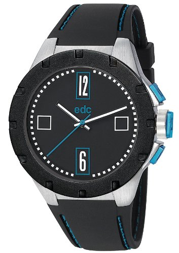 EDC by Esprit Men's Quartz Watch Jagged Boss - Cool Turquoise EE100771001 with Rubber Strap