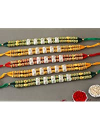 Tied Ribbons Set of 5 Designer Rakhi for Bhai with Rakshabandhan Special Card