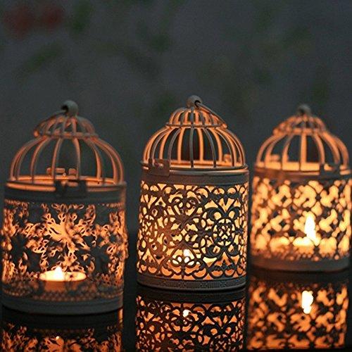 Homeofying Kerzenhalter zum Aufhängen, hohl, marokkanischer Stil, Laterne, Hochzeitsdekoration, Eisen, Style B