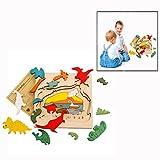 Itian 3D Puzzle,Dinosaurier Holz Spielzeug Holzpuzzle Basteln Lernspiel Spiel für Kinder