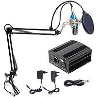 TONOR XRL 3.5mm Micrófono Condensador Profesional para Computadora Podcast Estudio con Soporte de Micrófono Ajustable, Filtro Anti-Pop, 48V Phantom Fuente de Alimentación y EU AC Plug Convertidor Azul