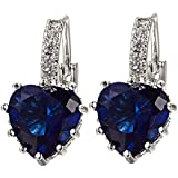 Sanwood® Shining Women's White Gold Plated Sapphire Blue Crystal Heart Leverback Earrings