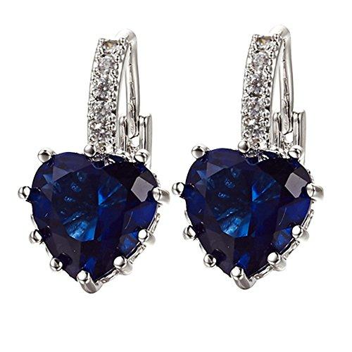 Amesii, orecchini da dona con chiusura a monachella, a forma di cuore, placcati oro bianco 18 K e con cristalli blu zaffiro