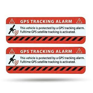 LM Intertrade GmbH GPS Alarm Aufkleber Auto - Warnaufkleber in Premium Qualität - 75 mm x 25 mm - Sticker für Pkw - Innenklebend (rot klassich, 2)