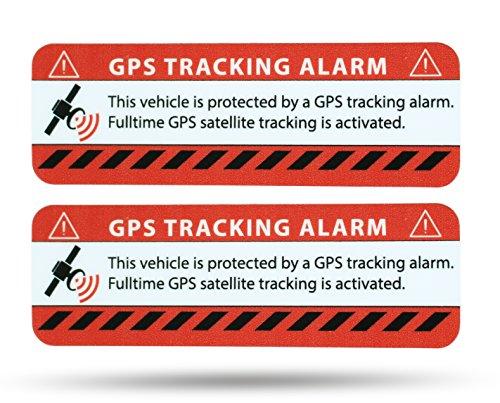 SECYOURITY - GPS Alarm Aufkleber PKW - Warnaufkleber für Auto & LKW (rot, 2) Alarm-aufkleber