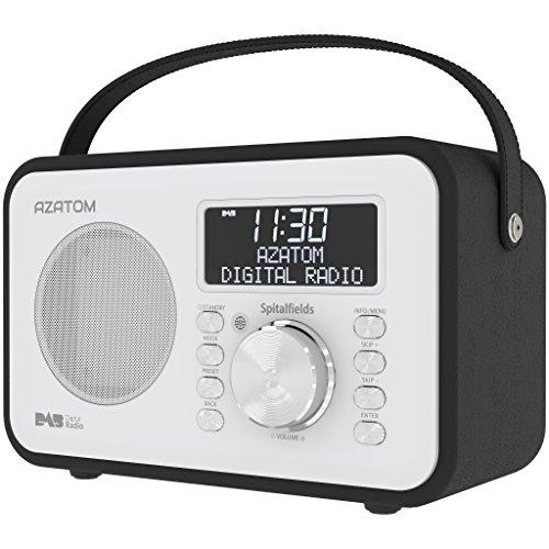 Spitalfields Retro DAB / DAB+ Digital FM Portable Radio / Alarm Clock / Leather Effect Finish / Mains Powered / Rechargable Battery / Subwoofer / Premium Stereo Sound (Black)