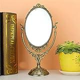 Make-up Kosmetik Spiegel Prinzessin Oval Desktop Doppelseitig 7 Zoll Desktop Tischplatte, Bronze für Badezimmer Waschtisch Rasieren Ankleidezimmer Schlafzimmer Thanksgiving, Weihnachten Geburtstag Hochzeit Geschenk