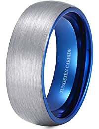 Mens Tungsten Ring -8mm Brushed Tungsten Wedding Engagement Ring With Blue Interior