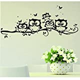 Vovotrade Eule Schmetterling Wandaufkleber, Kinder Cartoon Eule Schmetterling Wandaufkleber Wandbild Decor Home Wohnzimmer Aufkleber Vinyl Kunst 55 * 25 cm (Schwarz, 55*25cm)