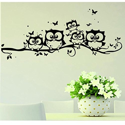 Vovotrade Eule Schmetterling Wandaufkleber, Kinder Cartoon Eule Schmetterling Wandaufkleber Wandbild Decor Home Wohnzimmer Aufkleber Vinyl Kunst 55 * 25 cm (Schwarz, 55*25cm)
