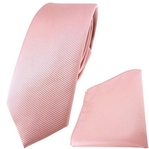 TigerTie schmale Designer Krawatte Einstecktuch in rosa altrosa einfarbig Uni Rips