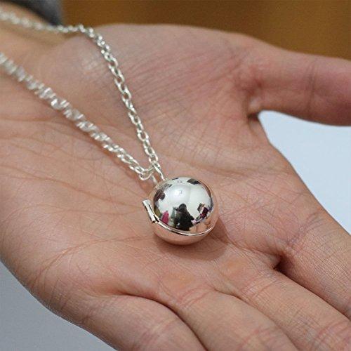 Charm Silber Ball Medaillon Halskette Anhänger, Schmuck Anhänger, Lange Kette, rund Orb Anhänger (Orb Pendant Necklace)