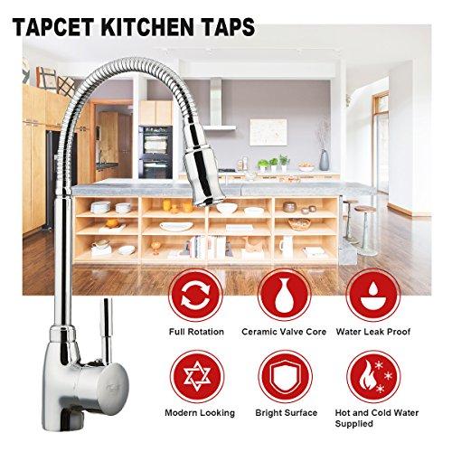 TAPCET Moderne Küche Mischbattrie Professionelle Spüle Küchenarmatur 360Grad Drehung Edelstahl Einzelner Halter Wasserhahn DE Standardbeschläge Qualitätsgarantie vorhanden - 2
