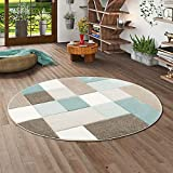 Pergamon Designer Teppich Maui Pastell Blau Beige Karo Rund in 3 Größen