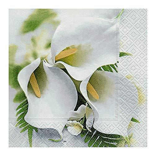 Servietten 20 Stück 33 x 33 cm Cala creme, weiß / CALLA BOUQUET Bouquet Serviette
