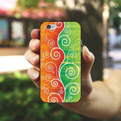 Apple iPhone X Silikon Hülle Case Schutzhülle Floral Schnörkel Ranken Silikon Case schwarz / weiß