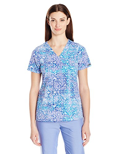 WonderWink Women's Hp Print Mock Wrap Scrub Top, Stain Glass, - Mock Wrap Scrubs Womens