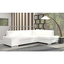 JUSThome Fabio Sofá esquinero chaise longue función de cama Sofá-cama Piel sintética Tamaño: 73x268x167 cm Blanco Brazo derecho