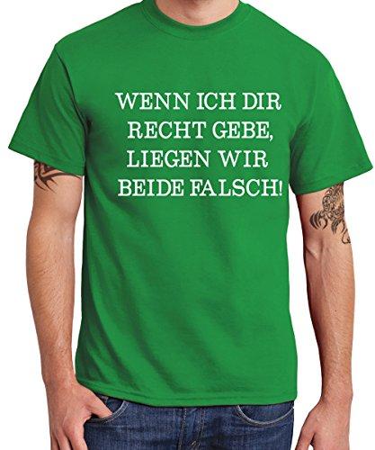 clothinx - Wenn Ich Dir Recht Gebe, Liegen Wir Beide Falsch! - Boys T-Shirt Kelly Green, Größe L - Bier Humor Grünes T-shirt