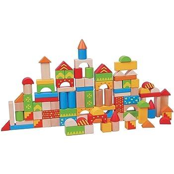 Lelin 100 Blocks Wooden Building Blocks Toy Tub For Children Kids