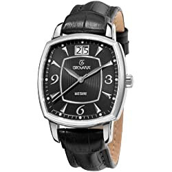 GROVANA 1719.1537 Men's Quartz Swiss Watch with Black Dial Analogue Display and Black Leather Strap