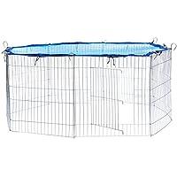 TecTake Enclos extérieur avec filet de protection pour petits animaux | Diamètre env. 145 cm | Bleu