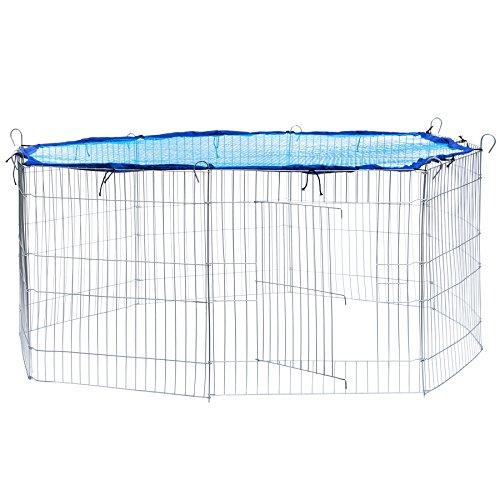 TecTake Freilaufgehege mit Schutznetz für Nager und Kleintiere | aus 8 Elementen Ø 145 cm - diverse Farben - (Netz Blau | Nr. 402393)
