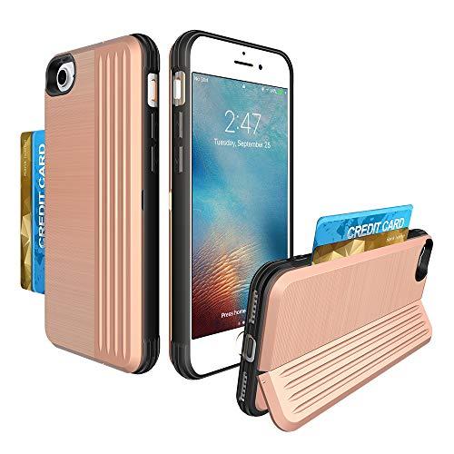 iMangoo Kartenhalter Hülle für iPhone 7 Hülle iPhone 8 Wallet Case Credit ID Card Slot Schutzhülle mit klappbarem Ständer Soft TPU Bumper + Hard PC Hybrid Case für Apple iPhone 7/8, Rose Gold Pocket Card Case