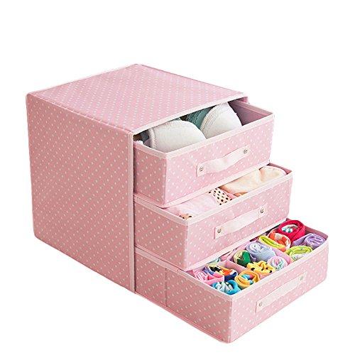 Tessuto in stile cassetto a tre livelli immagazzinaggio della biancheria intima di sicurezza, sei colori sono disponibili ( colore : 1 )