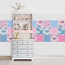 54 piezas adhesivo para azulejos 10x10 cm ps00039 fantasa rosa adhesivo - Azulejos Rosa