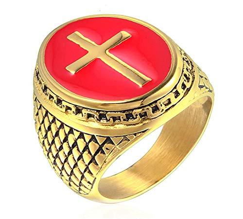 DIBMXC Antike Retro Christian Kreuz Geschenk Ringe für Herren in Edelstahl (Antik Aquamarin Ringe)
