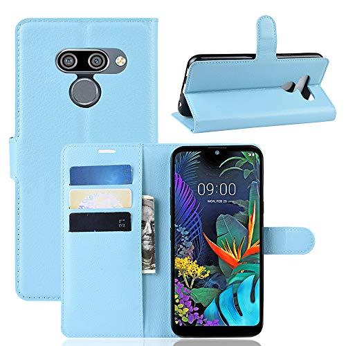 SPAK LG K50,LG Q60 Hülle,Premium Leder Geldbörse Flip Schutzhülle Cover für LG K50,LG Q60 (Blau)