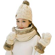 Vimeet Damen Warme Winter Mütze Schal Handschuh Set Wintermütze Gestrickt Beanie Mütze Wollmütze Strickmütze Earflap Hut Kappe Schnee Hüte Skimütze Bommelmütze