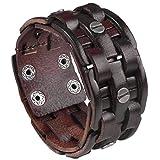 PiercingJ Punk Unisex Gothic Echtleder geflochten Armband Armreifen Manschette Armband, schwarz/braun (Braun)