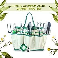 Set di 8strumenti di giardino in alluminio 8Piece alluminio con 6strumenti ergonomici, sacchetto di giardino (Strumenti Filo)