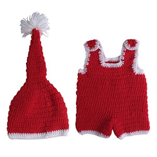 Smile YKK 1 Paar 0-6 Monate Baby Tier Muster Baby Junge Strick Kleider Fotografie Props 0-6 Monate Weihnachten Stil Rot (Weihnachten Passt)