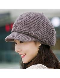 LIUXINDA-MZ Sombrero Hembra otoño e Invierno Sombrero Octogonal Lana de  Punto Invierno cálido Boina 72e68cd3777