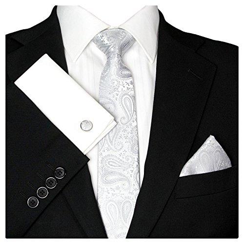 3- SET Paisley Krawatte & Einstecktuch & Manschettenknöpfe Grau Silber - Krawattenset Binder Schmale Kravatte zum Anzug Verlobung Hochzeit - Herren Schlips Hochzeitskrawatte GASSANI