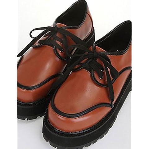 ZY/scarpe da donna piattaforma Comfort oxfords esterni nero/marrone/bordeaux, burgundy-us7.5 /