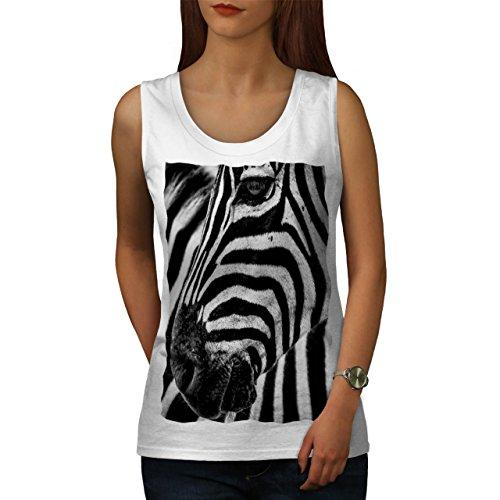 Wild Zebra Schau Gesicht Pferd Kopf Damen S-2XL Muskelshirt | Wellcoda Weiß